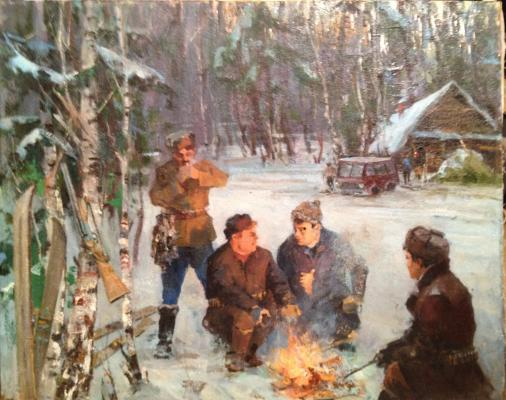 "Rudnev V. F. ""Winter hunting in the woods"""