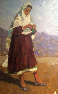 Сорокин Иван Васильевич. Девушка на фоне гор. Дагестан.