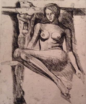 "Neizvestny E. I. ""Nude with crucifix"""