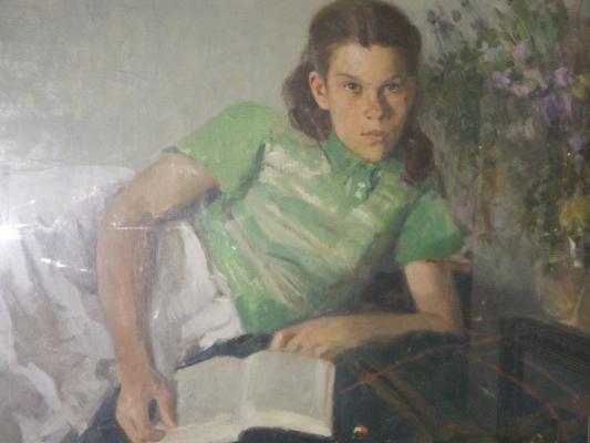 "Yefanov V. P. ""Natasha is reading. Portrait of daughter."""