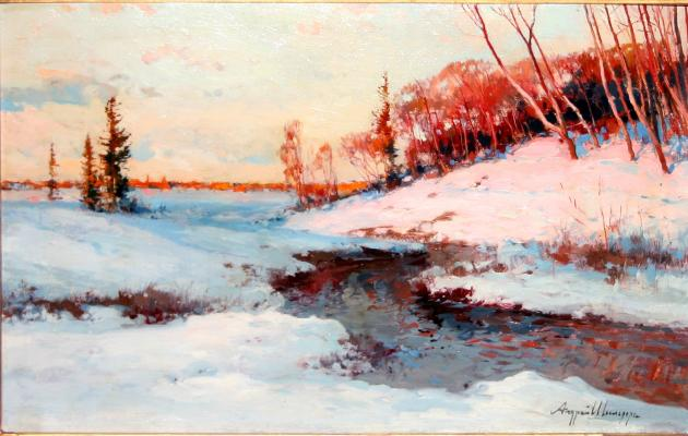 "Shilder A. N. ""Winter landscape. Sunset over the river."""