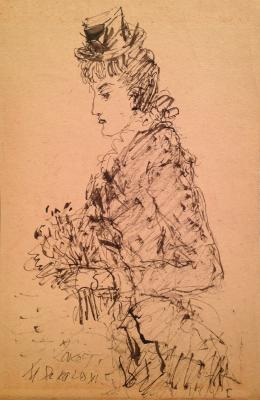 """Sokolov M. K. """"Lady with flowers."""""""