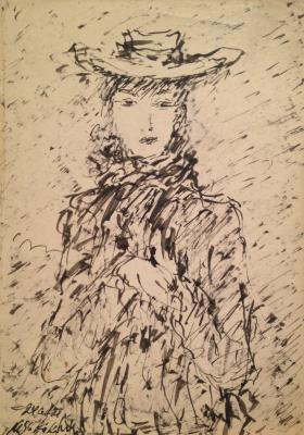 "Sokolov M. K. ""Portrait of a lady in a hat ."""