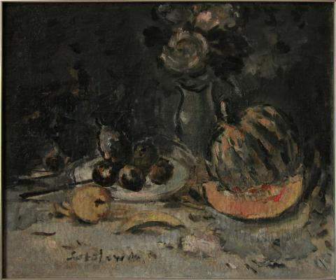 "Sokolov ""Still life with pumpkin and flowers."""