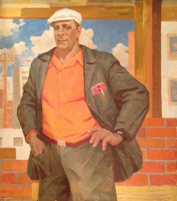 "Ilin I. M. ""Portrait of a hero of socialist labor foreman carpenter Alexey Sukhorukov"""