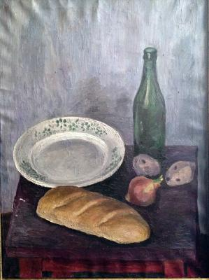 "Roginsky M. A. ""Still Life with a loaf of bread and onion ."""
