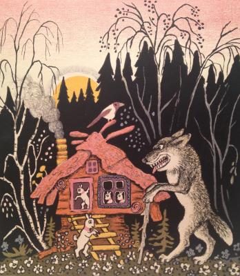 "Vasnetsov Y. A. ""The wolf and the seven little goats ."""