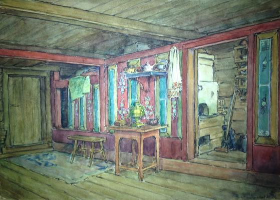"Kondratyev V. S. ""The interior of the hut. """