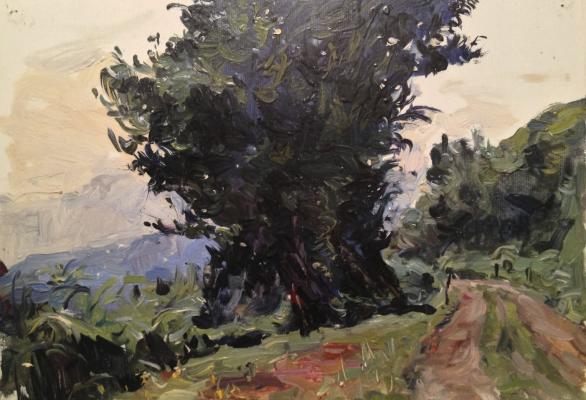 "Obolensky M. V. ""Landscape with a tree ."""