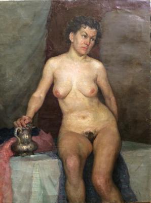"Neizvestny khudozhnik  ""Nude with a silver coffeepot."""