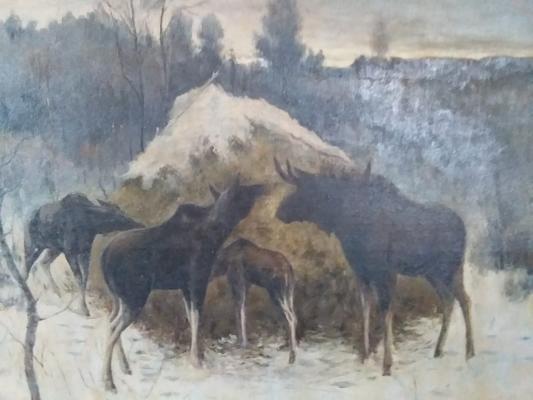 """Neizvestny khudozhnik  """"Moose at the haystack."""""""