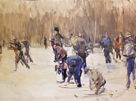 Неизвестный художник . Лыжная эстафета