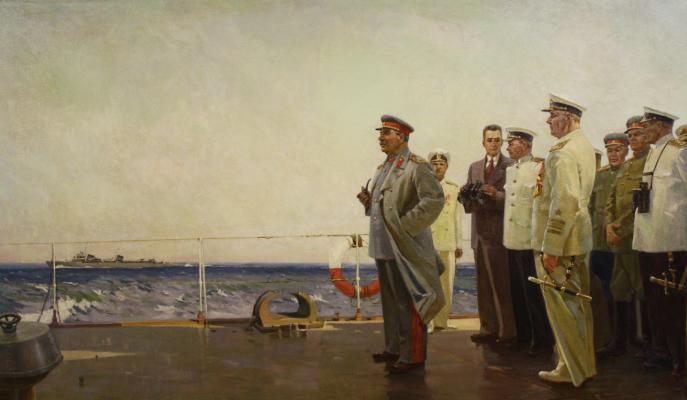 Неизвестный художник . Сталин на крейсере Молотов