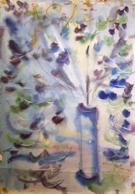 Неизвестный художник . Цветы в голубой вазе