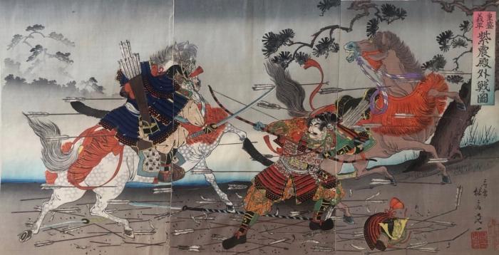 """Неизвестный художник """"Сражение двух конных самураев"""""""