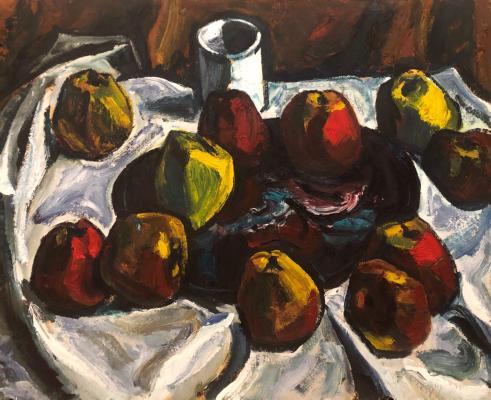 Неизвестный художник . Натюрморт с яблоками