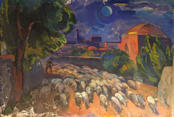 "Vasin V. F. ""Middle Asia. Landscape with a herd of sheep."""