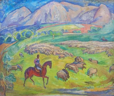 Васин Виктор Федорович. Пасут овец
