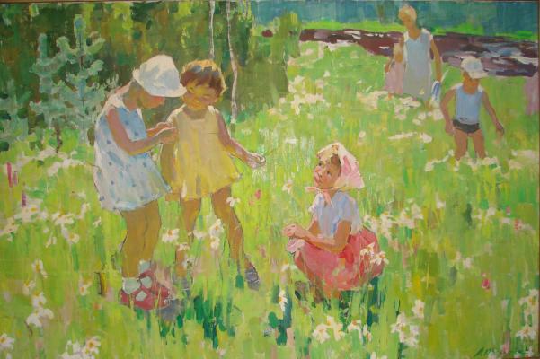 Токарева Александра Феликсовна. Дети собирают цветы.