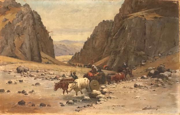 "Zommer R. K. ""Caravan in the Caucasus Mountains."""