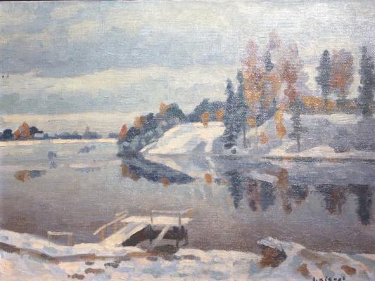 "Viktor Ivanovich Ivanov ""Winter river."""