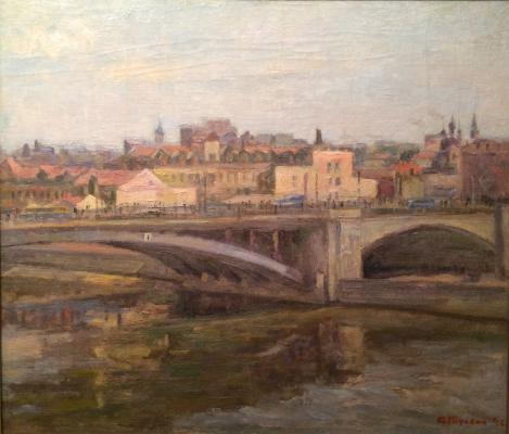 "Gluskin A. M. ""View of the Moskva River and the bridge."""