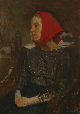 "Reshetnikov F. P. ""Portrait of a woman in a red scarf ."""