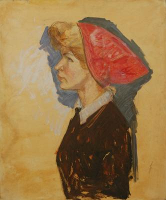 "Reshetnikov F. P. ""Portrait of a woman in a red scarf in profile."""