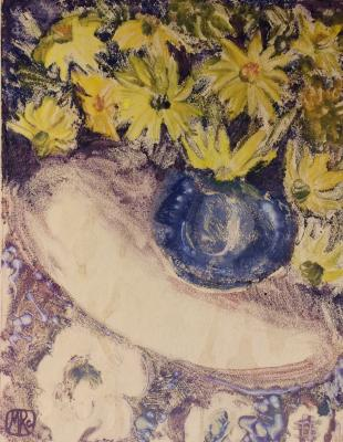 "Raube-Gorchilina M. V. ""Yellow flowers in a blue vase."""
