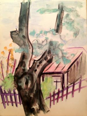 """Raube-Gorchilina M. V. """"Tree near the house with a pink roof"""""""
