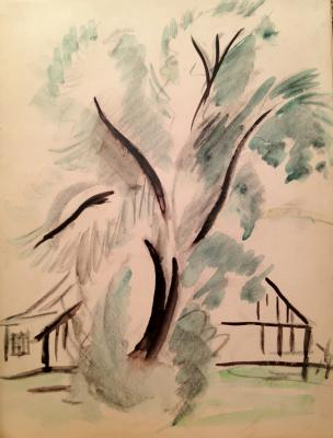 "Raube-Gorchilina M. V. ""Landscape with a tree ."""