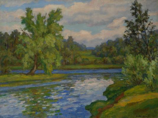 Монин Александр Александрович. Пейзаж с рекой.