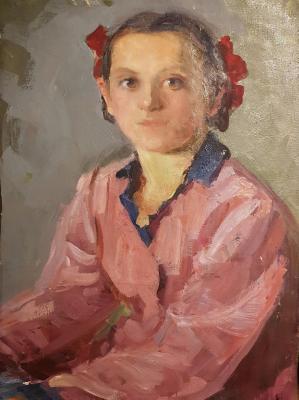 Яновская Ольга Дмитриевна. Портрет девочки в розовой рубашке