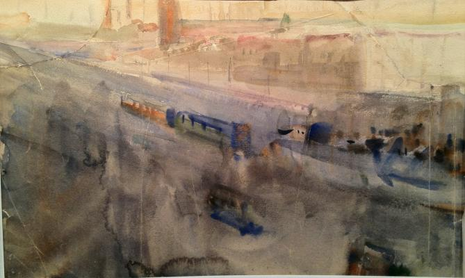 "Labas A. A. ""Moscow. Rain. Trams on the bridge"""