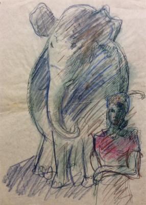 Лабас Александр Аркадьевич. Женщина со слоном