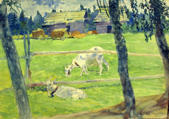 "Pashkov P. P. ""Goats at the fence ."""