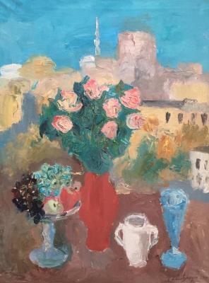 Ельницкая Вера Андреевна. Натюрморт с красной и синей вазой.