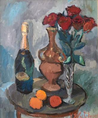 "Yelnitskaya V. ""Natbrmort with red roses and a bottle of champagne."""