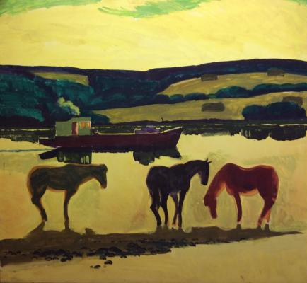 Бурмистров Борис Алексеевич. Лошади на реке