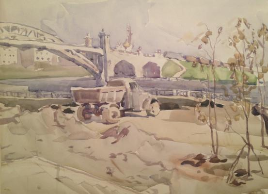"Piskareva A. N. ""Construction on the Embankment in Moscow ."""