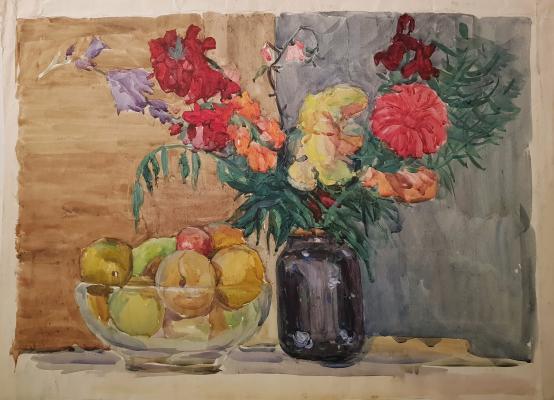 Пискарева Анна Николаевна. Натюрморт с цветами и яблоками