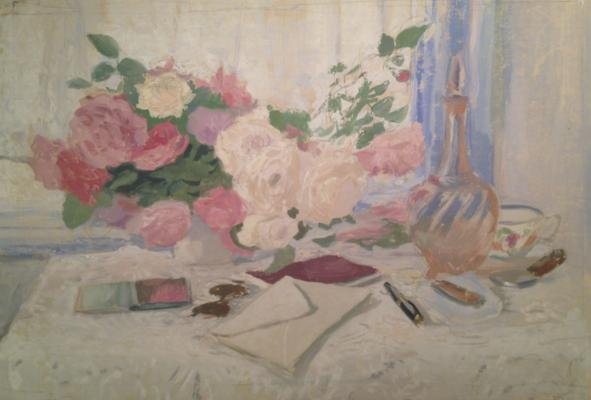 "Viting N. I. ""Still life with roses and a letter on the table."""