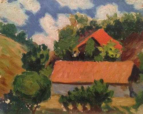 "Malayev F. P. ""Landscape with a red roof ."""