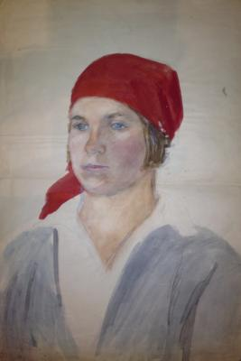 "Malayev F. P. ""A worker in a red scarf ."""