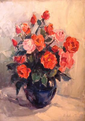 "Tsvetkova V. P. ""Red roses in a blue vase ."""