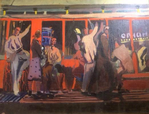 """Milyukov B. P. """"In the tram."""""""