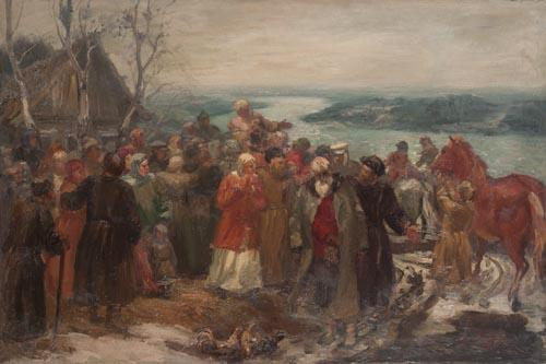 "Lebedev D. V. ""Village gathering."""