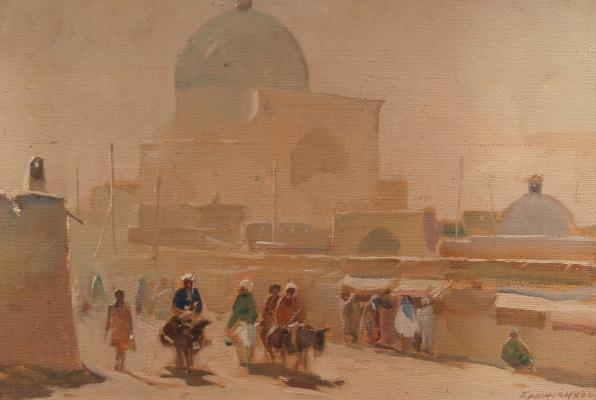 "Brynskikh B. A. ""Samarkand. Bazaar at the mosque of Bibi Khanum."""