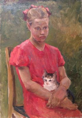 "Zhokhov V. P. ""Girl with a kitten"""