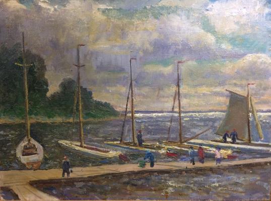 "Veydemanis E. K. ""The yacht club on the reservoir."""